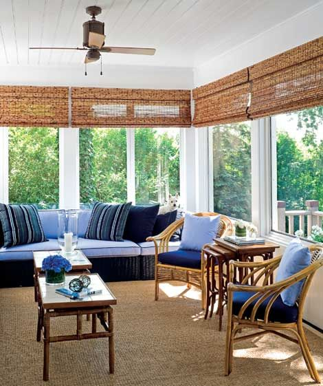 Blue-and-white palette equals cool, calm, and collected. The cork-colored blinds provide just the right amount of texture and offer a warm, earthy feel.