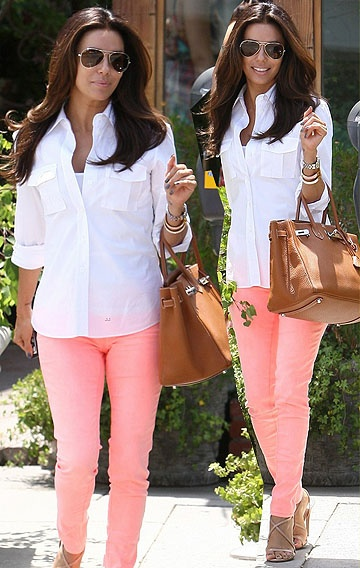 Eva Longoria's peach coloured pants.