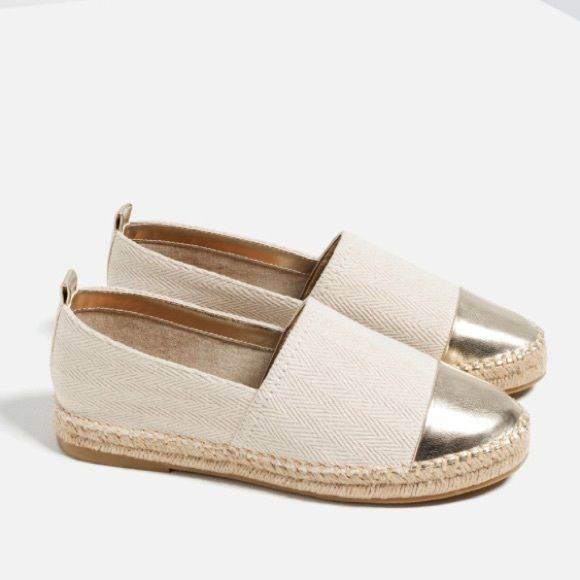 ZARA espadrilles Super cute and very chic espadrilles. Really nice quality! So gorgeous. Nude with gold tips. Sold out everywhere. These are the shoes of the spring/summer. These are the prettiest espadrilles I have ever seen. Make an offer. Zara Shoes Espadrilles