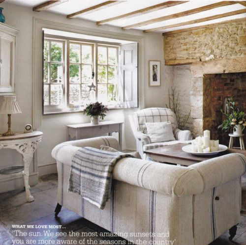Country charm in the living room. Note the giant brick fireplace and beam detail on the ceiling.: Decor, Interior, Ideas, Living Rooms, Livingrooms, Grain Sack, French Country, Family Room, Country Cottage
