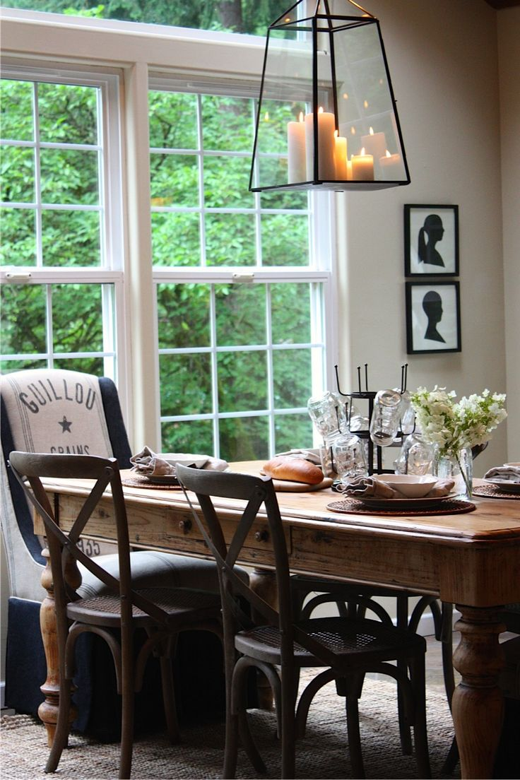 ~a rustic table & a new lantern~: Dining Rooms, Lights Fixtures, Rustic Tables, Bistros Chairs, Kitchens Tables, Wall Lights, Candles Chandeliers, Sweet Savannah, Farms Tables