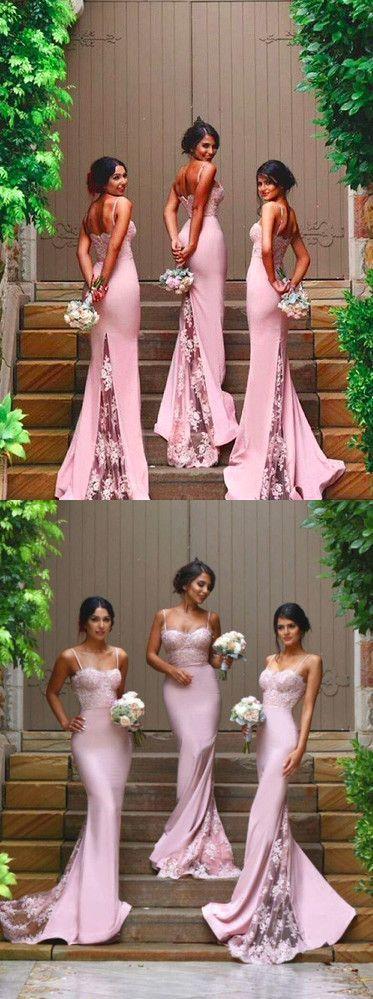 2017 bridesmaid dress, long bridesmaid dress, pink bridesmaid dress, mermaid bridesmaid dress