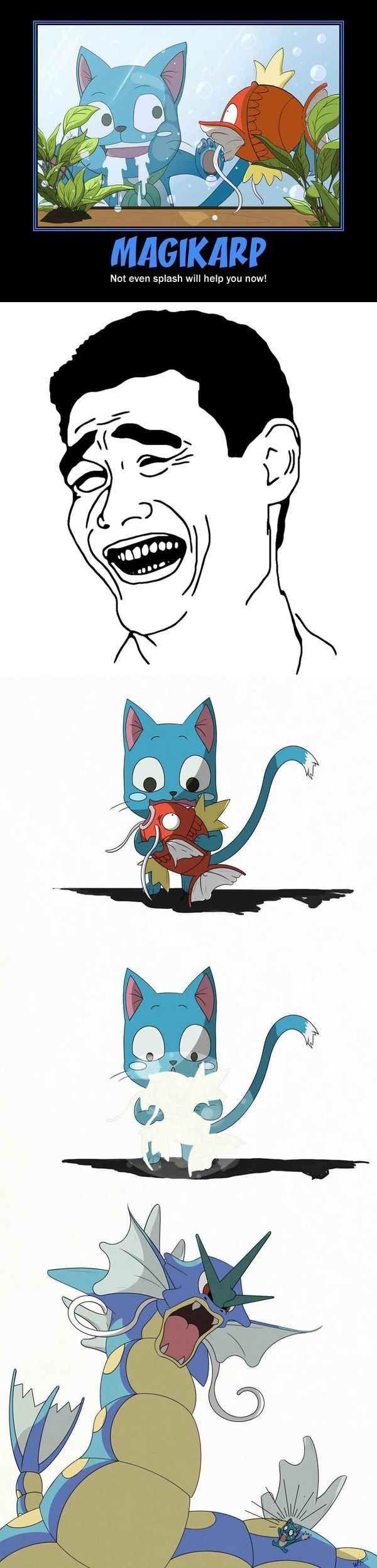 Awwww poor happy!!!! He will not get his Magicarp fairy tail and Pokemon crossover.