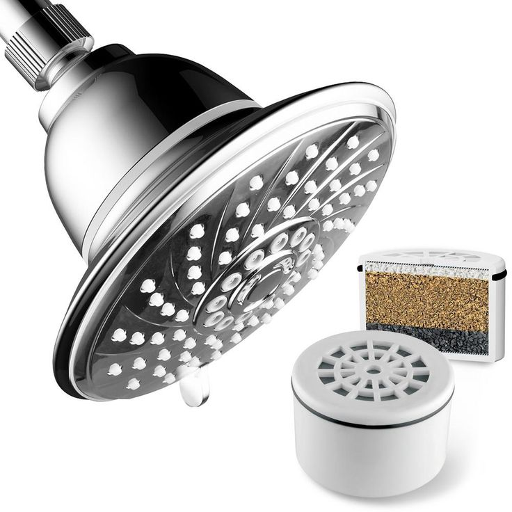 Hotel Spa 6-Spray 6 in. Fixed Shower Head with Filter in Chrome (Grey)