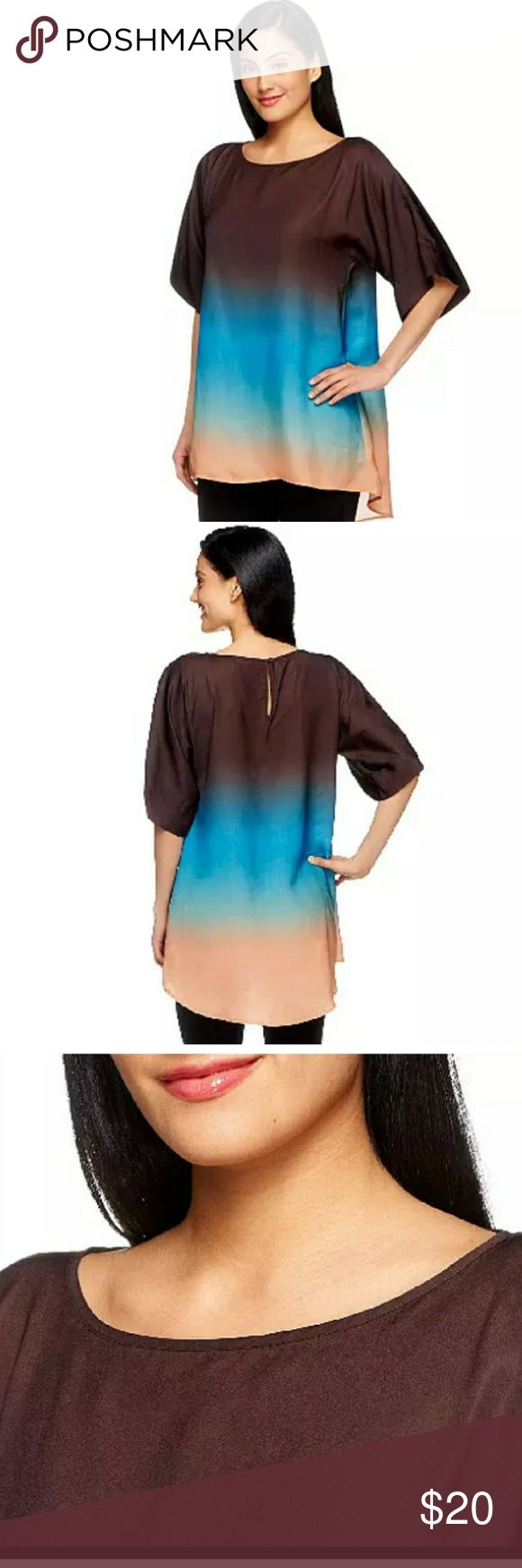 New G.I.L.I. Got It Love ItElbow Sleeve Dip Dye G.I.L.I. Got It Love It  Elbow Sleeve Uneven Hem Dip Dye/Tie Dye Blouse Featured on QVC Size Small  Excellent new condition. Includes extra button, no flaws.   Kimono style, uneven hemline, button-and-loop back neck closure, scoop neckline, dip-dye design.Imported.    Measurements:   Chest(armpit to armpit) :22in  Length(shoulder to bottom hem) :27in  Sleeve: 14.5in G.I.L.I. Got It Love It Tops Blouses