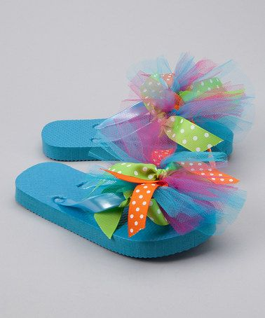 Blue Polka Dot Flip-Flop/oompf plain flip flops with ribbon and tulle