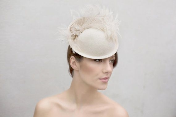 Wedding Feather Saucer Hat, Custom Colours, Occasion Hat - Elicia