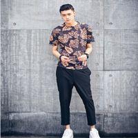 Uomini stampa casuale doppia altezza cotone breve camicia no sport fitness limitata sottile maglietta 2015 di estate nuovo a maniche corte dipinta foglie