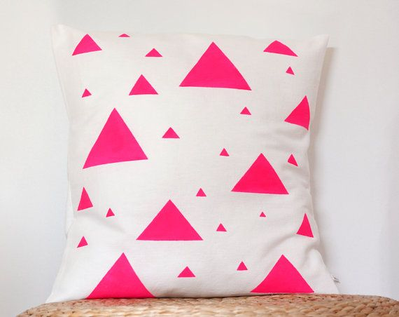 Neon Pink Triangle decorative Pillow cover - Minimalist pillow case - Neon pillow - Neon home decor