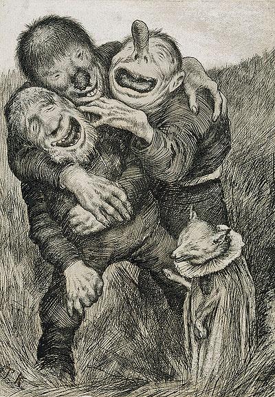 Da slo trollene latterdøren opp av Theodor Kittelsen  Asbjørnsen og Moe samlet eventyr  http://mikro.nasjonalmuseet.no/kittelsen/images/big/NG.KH.B.05243.jpg