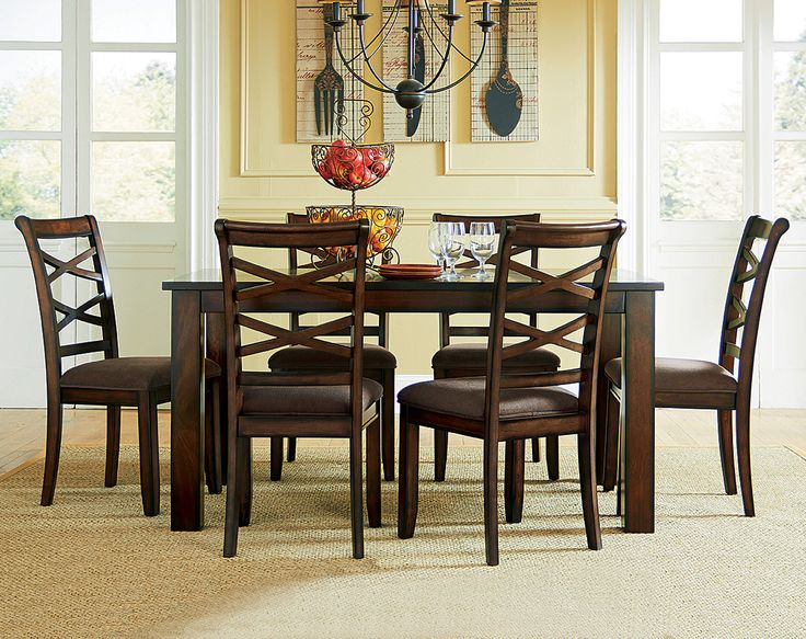 Cherry Stain Dining Table Set | Redondo Seven Piece Dinette Set | American  Freight