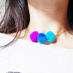 Zabett Necklace with Silk Balls Florence Italy. Handmade