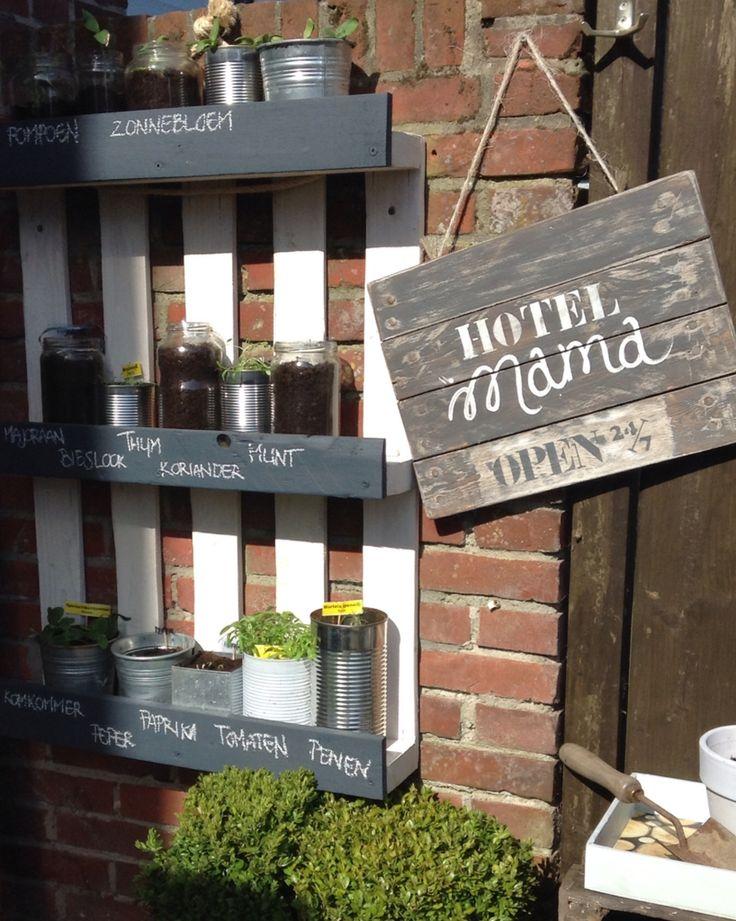 Kruiden of kweekrek gemaakt van een pallet de voorzijdes for Wandrek tuin