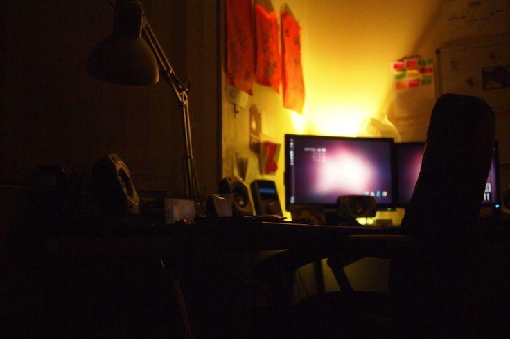 Double monitor setup with new IKEA lamp