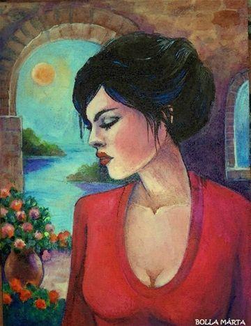 Carmen 2016 Acrylic on canvas - 18 x 24 cm - by Márta Bolla - Hungary