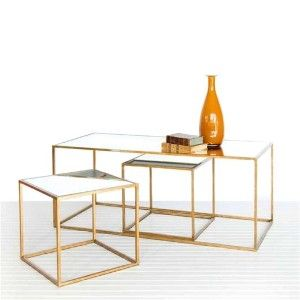 Gold and Mirrored Tables set