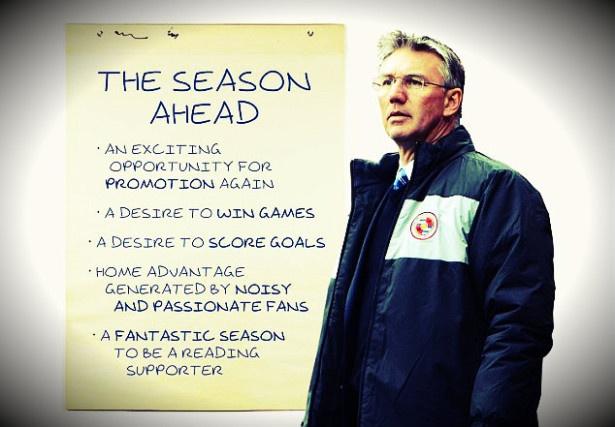 El técnico del Reading, Nigel Adkins compartió con los aficionados del club sus objetivos y perspectivas para la próxima temporada.