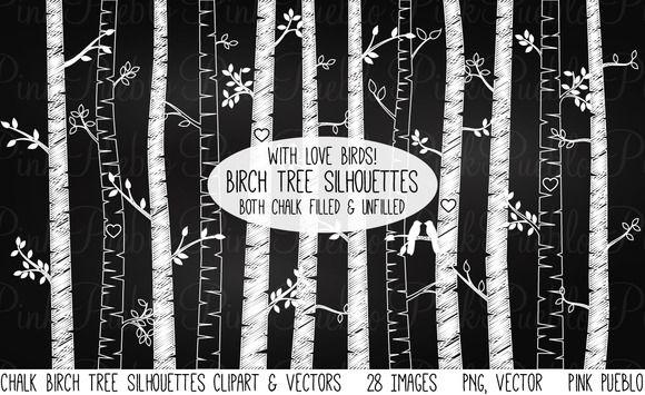 Chalkboard Birch Tree Clipart/Vector by PinkPueblo on Creative Market
