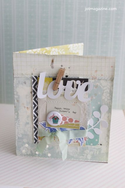 A layered card on the Jot blog by Kim Archer