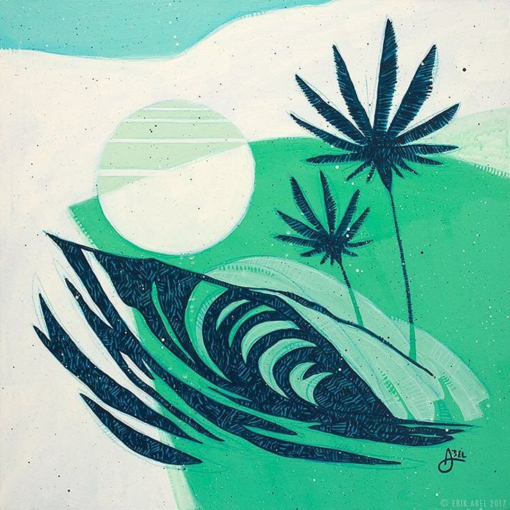 """Happy International Surfing Day! Enjoy the ocean today if you are able. This is """"Salty Moon 2"""" 18x18in on wood panel. The sister to the larger piece I posted the other day. Available at Wyland Gallery Waikiki. Call for pricing and availability 808.924.1322 /// #internationalsurfingday #hawaiiart #waikiki #wylandgallery #surfart"""