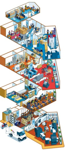 isometric pixel art architecture illustrator