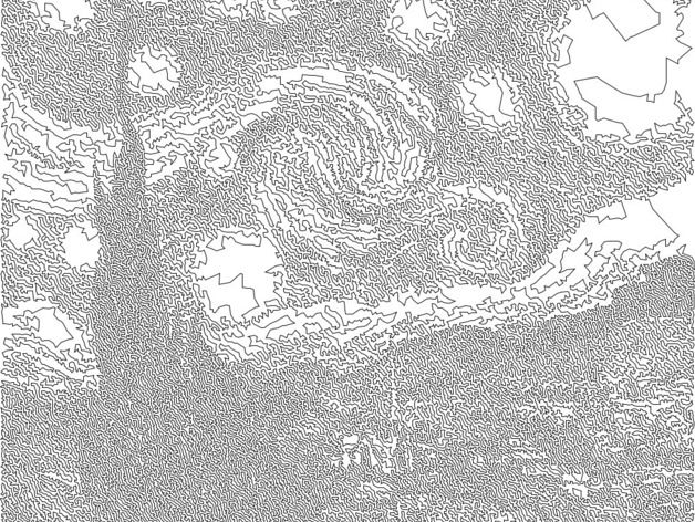 Van Gogh's Starry Night TSP Single Line Drawing by MakerBlock - Thingiverse