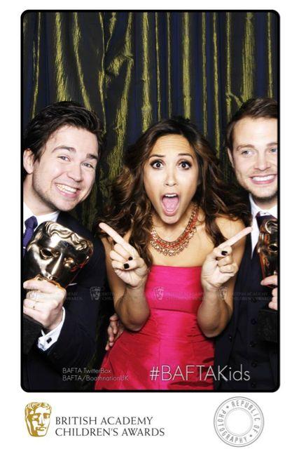 Myleene Klass celebrates with Sam & Mark who won the Presenter awards, their first ever BAFTA win!