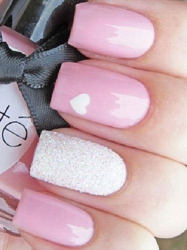 Pink & White Glitter Heart Nail Art