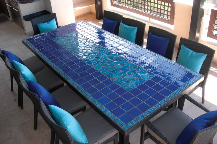 Outdoor dining table - mosaic table - jungle leaves - rectangular terrace table