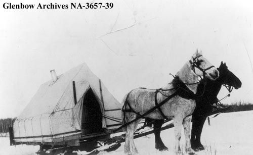 Jan 1938, Alphonse Plante's covered sleigh, entering the Peace River area, Alberta. Posted on http://www.inkwellinspirations.com/2014/01/historic-winter-travel-caboose.html