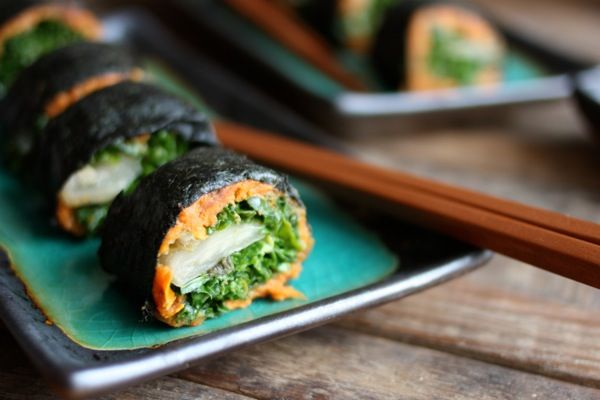 Nori Rolls with Miso Sweet Potato Mash, Kimchee, and Massaged Kale