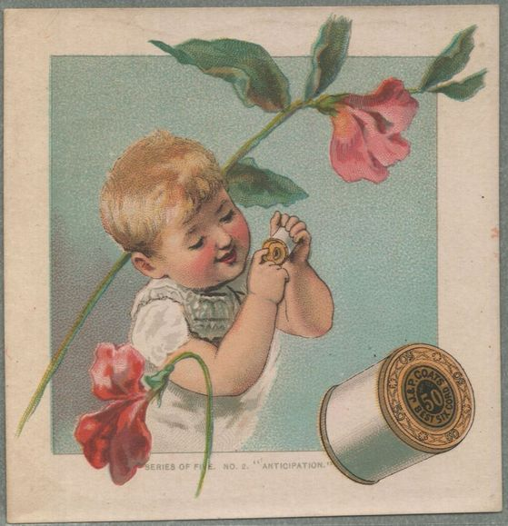 003 - J & P Coats Thread Victorian trade card - baby & flowers front