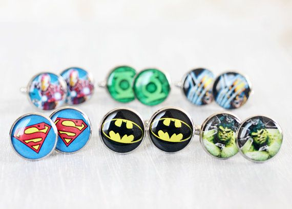 Wedding mens cufflinks - set of 6 Groomsmen gifts - Comic Superhero - Superman, Batman, Green Lantern, Wolverine, The Hulk, Iron Man