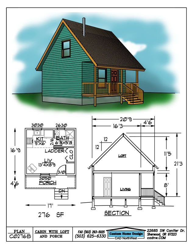 Drawing C0276b 16 9 X 17 Cabin Loft 11 5 276sqft