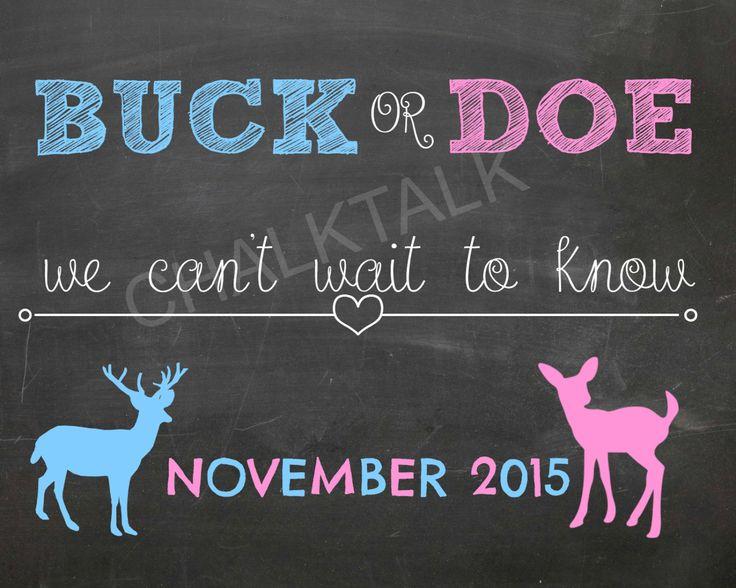 Buck or Doe Gender Reveal Chalkboard - Pregnancy Announcement - Printable - Photo Prop by ChalkTalkDesigns on Etsy https://www.etsy.com/listing/231060263/buck-or-doe-gender-reveal-chalkboard