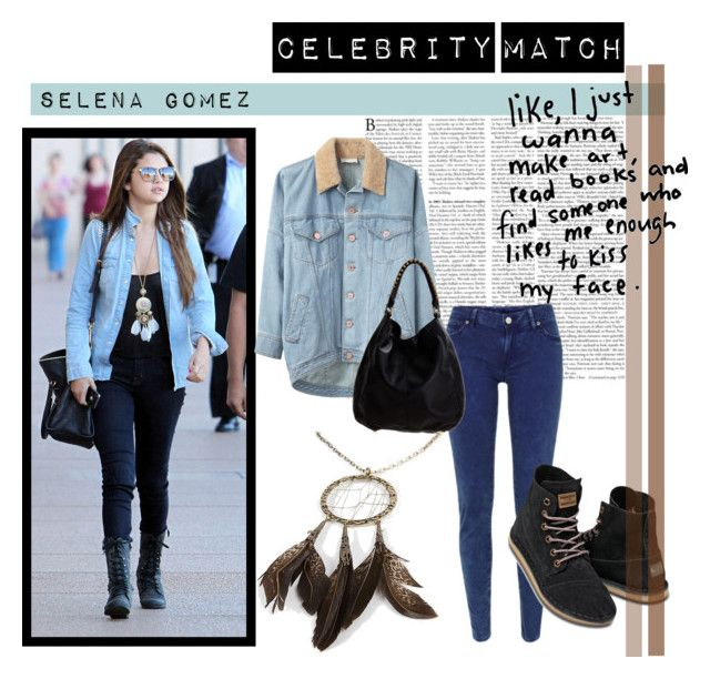 """Celebrity Match - #3 Selena Gomez"" by leshieloveschu ❤ liked on Polyvore featuring Band of Outsiders, Denim & Supply by Ralph Lauren, TOMS, Linea Pelle, Daytrip, justin bieber, selena gomex, boots, purple and black"