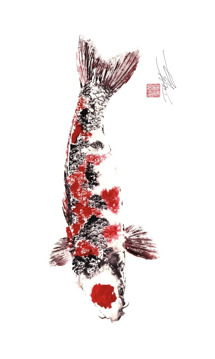 Last one japanese koi giclee gyotaku print for Japanese fish painting