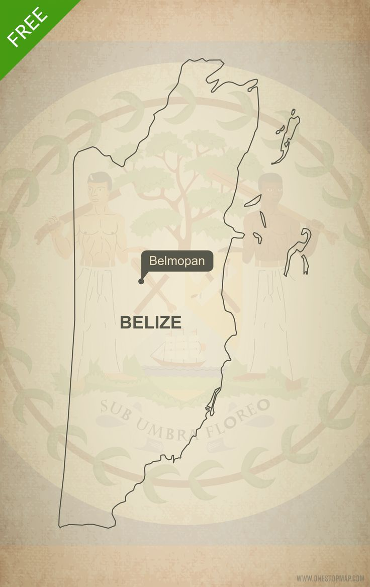 North America Map Outline Printable%0A Free Vector Map of Belize Outline