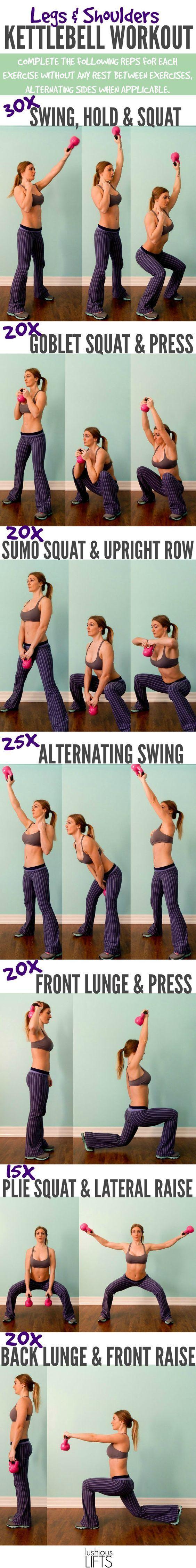 Legs and Shoulders Kettlebell Workout    Lushious Lifts https://www.kettlebellmaniac.com/kettlebell-exercises/