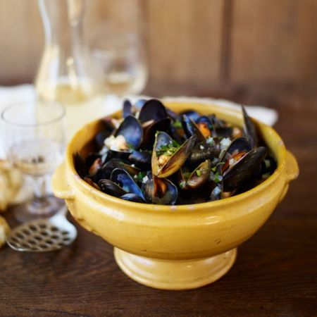 Elizabeth David's Moules mariniere. For the full recipe, click the picture or visit RedOnline.co.uk