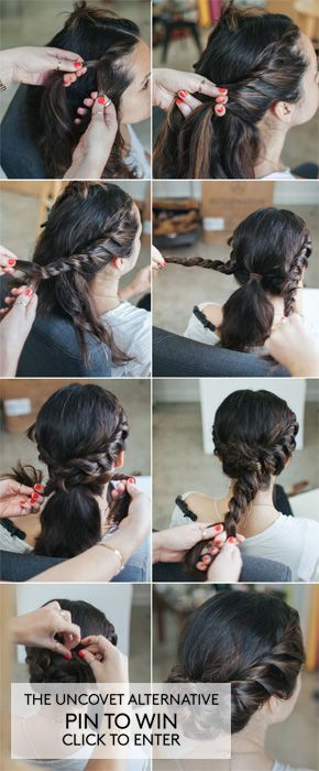 This is one I've tried and love how easy it is to do. It's a great style for when you're in a hurry and just want to get your hair up and out of the way.