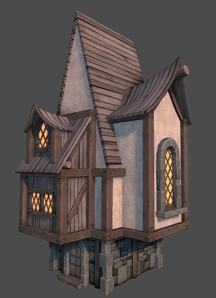 Stylized fantasy town polycount forum hand painted for Fantasy house plans