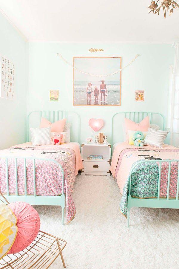 Una habitación azul para dos niñas | Decoración