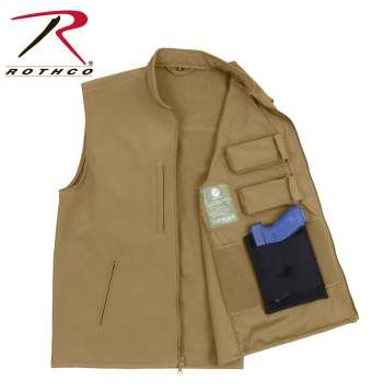 86600-E.jpg Rothco Concealed Carry Soft Shell Vest is durable, lightweight and breathable, the concealed carry vest features a 100% polyester shell with a 3 layer construction that deflects wind wick away moisture and retains body heat.