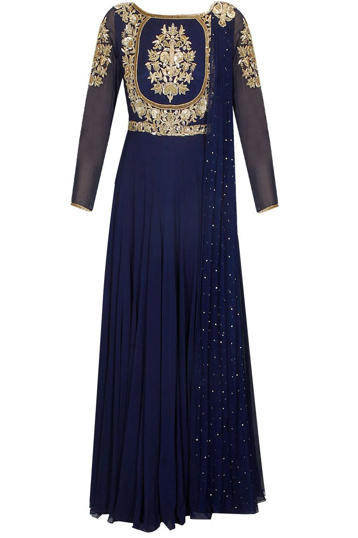 Royal blue hand embroidered anarkali set with attached dupatta available only at Pernia's Pop Up Shop.