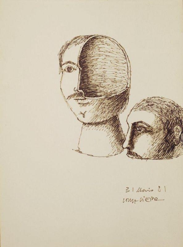 Sem Titulo 169)21 1981 Sepia x Paper 29,5cm x 21cm #JorgeVieira #sculpture #SaoMamede #art #drawings #visit #lisbon #gallery