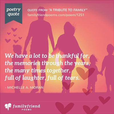 A family starts with only two and if they're lucky and work can create something magical called a family., Poem about Family
