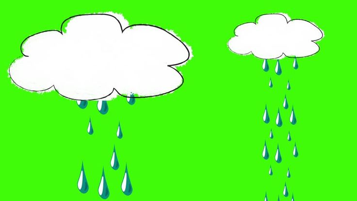 Funny Cartoon of a Single Raining Cloud on a Green Screen Background - HD stock footage clip