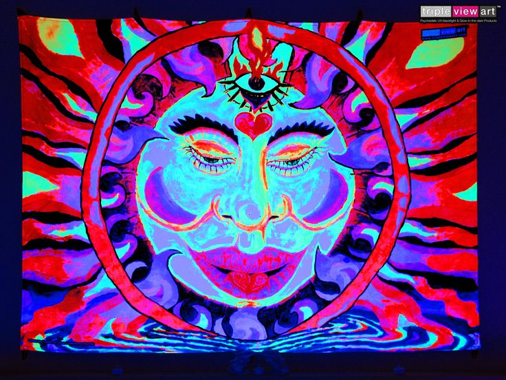 """Chillin' Sun"" UV-Blacklight Fluorescent Glow Psychedelic Art Backdrop, £90 in Tripleview Art Shop. #psychedelic #psy #goa #trance #psytrance #goatrance #rave #club #festival #trippy #hippie #esoteric #mystic #spiritual #visionary #symbolism #UV #ultraviolet #blacklight #fluorescent #fluoro #fluo #neon #glow #luminescent #art #backdrop #banner #wallhanging #tapestry #deco #sun #fire #water #tibetan #meditation #3rdeye"