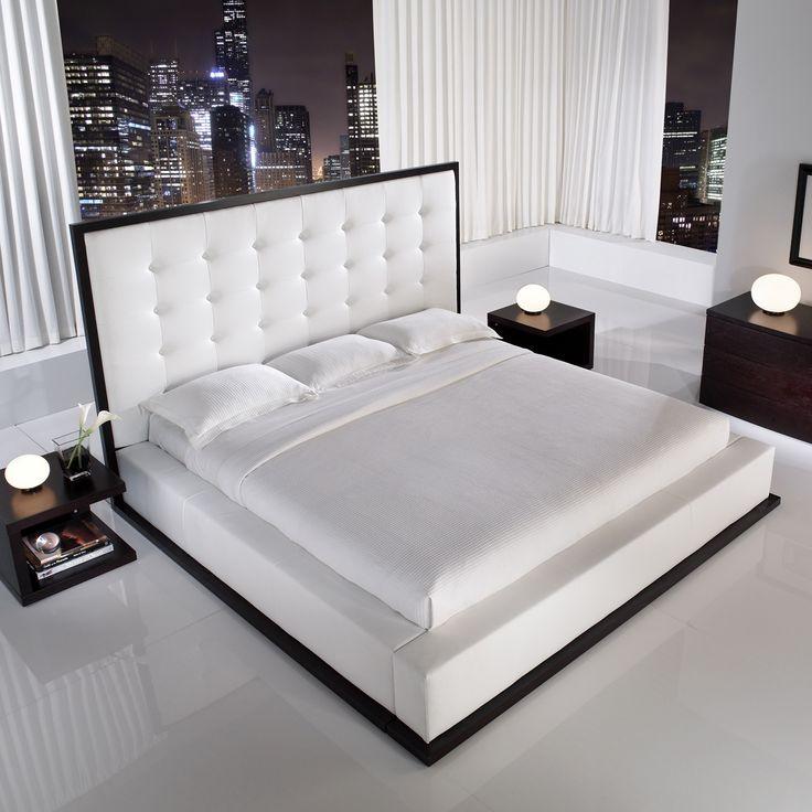 Designer Bed in Wenge, White Leather.